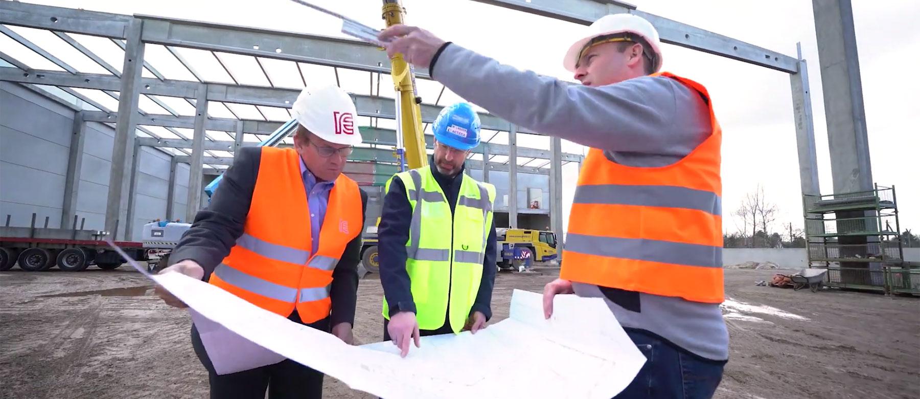Bauplanung und Realisierung einer neuen Produktionsstätte.