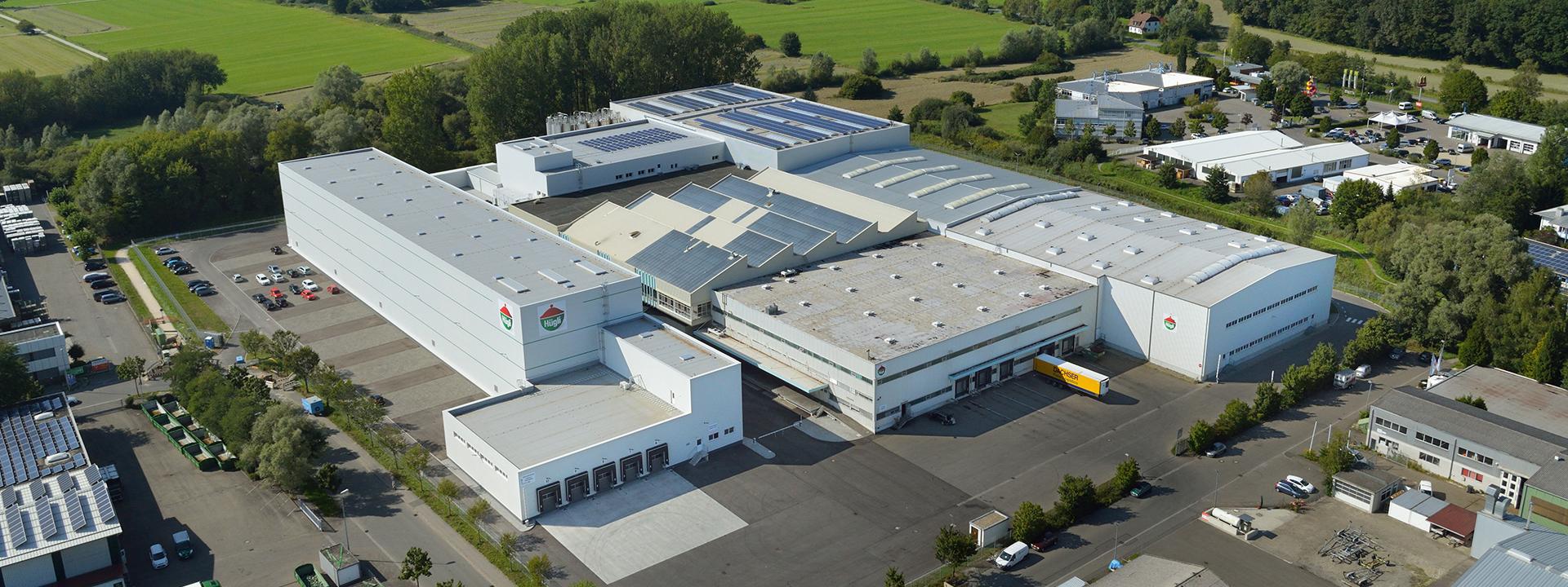 Fabrikansicht des Erweiterungsbaus zur Lebensmittelproduktion für Hügli