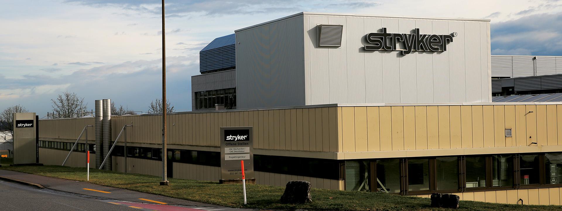 Aussenansicht des Projekts Reinraumplanung mit Lüftungskonzept durch IE Life Science bei Stryker