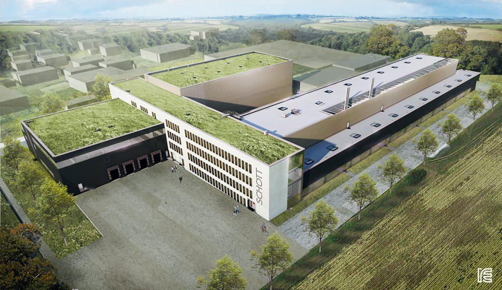 Ansicht Neubau Pharmaverpackungswerk Projekt Schott